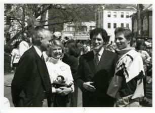 Doug Mello, Terry Birdsong, Ernie Anastos and Eamonn Coghlan at 1st Derby