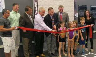 Left to right: Arturo Alverez (general contractor); Doug DeStaebler (Rye Y Board President); Senator George Latimer; Robbie Howard (Facilities Committee Member); Gregg Howells (Rye Y Executive Director); City of Rye Mayor Joe Sack, Danielle DeVito (Crozier Gedney Architects, PC).  Children: Kira and Miles Woolsey, Mia Howson and Morgan Gold.